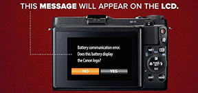 Cannon warns about some third party batteries Photo