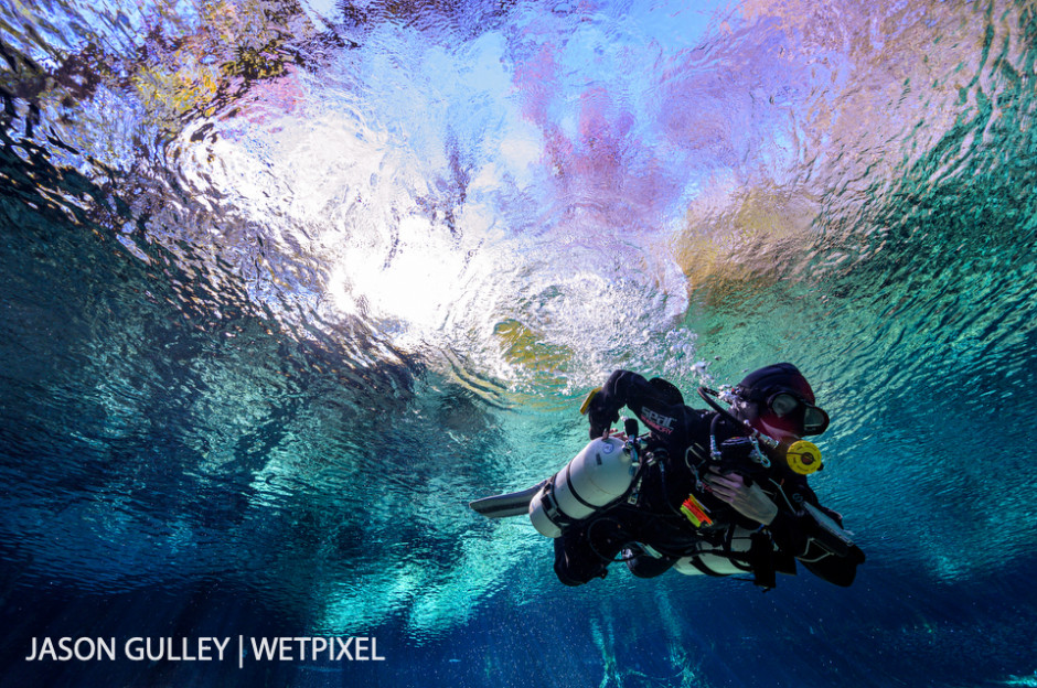 A diver makes final gear adjustments in the spring run before diving into Ginnie Spring - one of more than 1000 known springs in the State of Florida.