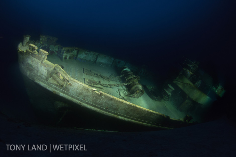A composite image of the USS Kittiwake at night, West Bay, Grand Cayman