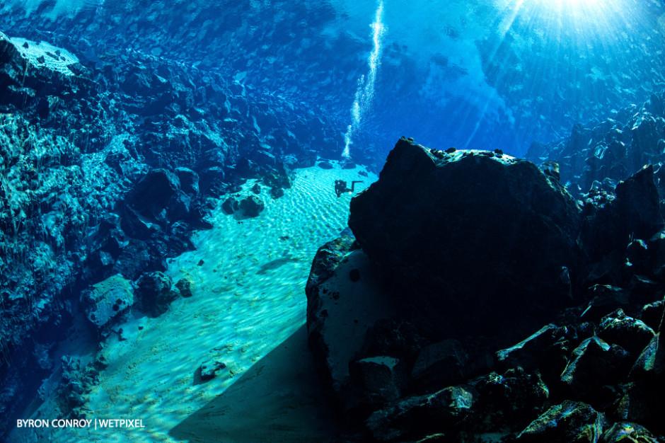 Odin dive site in sunbeams