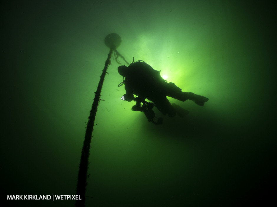 Descending to the wreck of the Breda, Ardmucknish Bay, Scotland.
