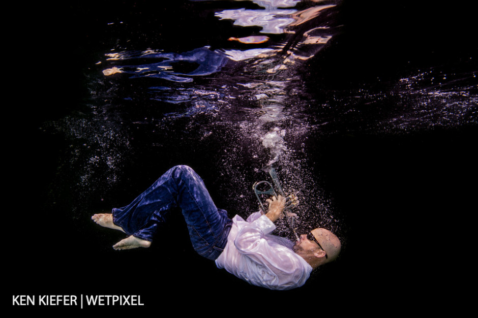 Deep jazz notes, plunging backward with a black backdrop - this became his album cover.