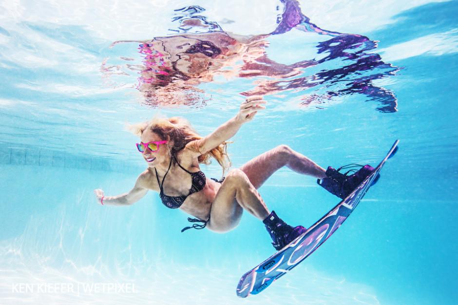 Underwater wakeboard athlete.