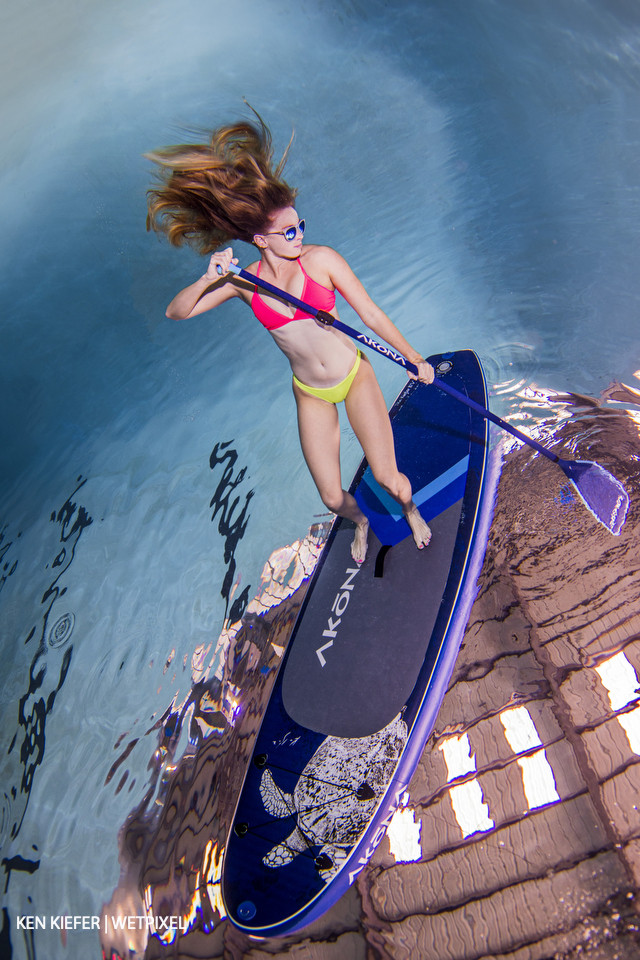 Underwater paddleboard, I used a person on top of the board to sink the board a bit and provide a little stability.