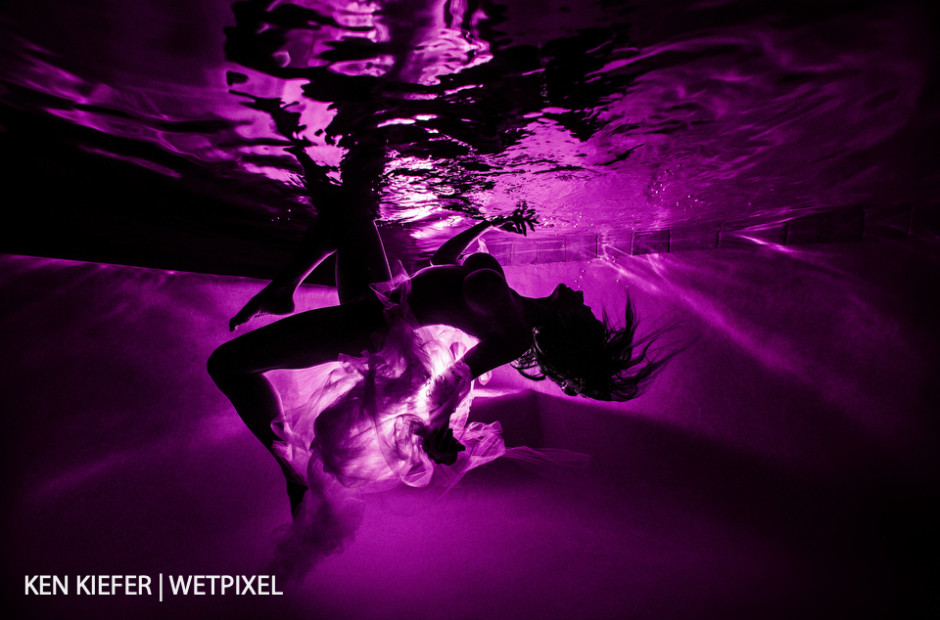Silhouette image created by using BigBlue light on the pool steps along with a colored gel.