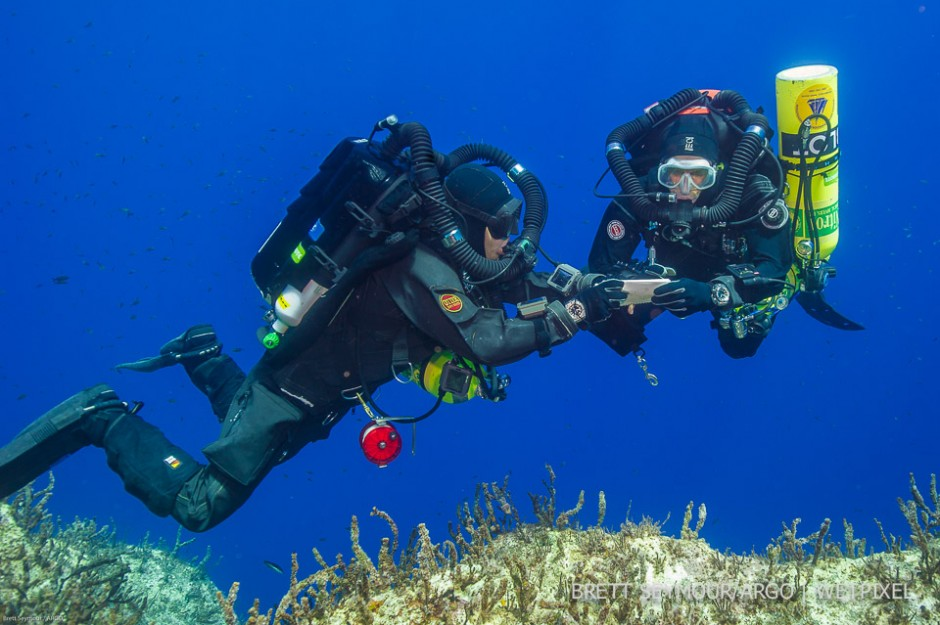 Technical divers Phil Short and Alexandros Sotiriou on deco at the end of a three hour dive