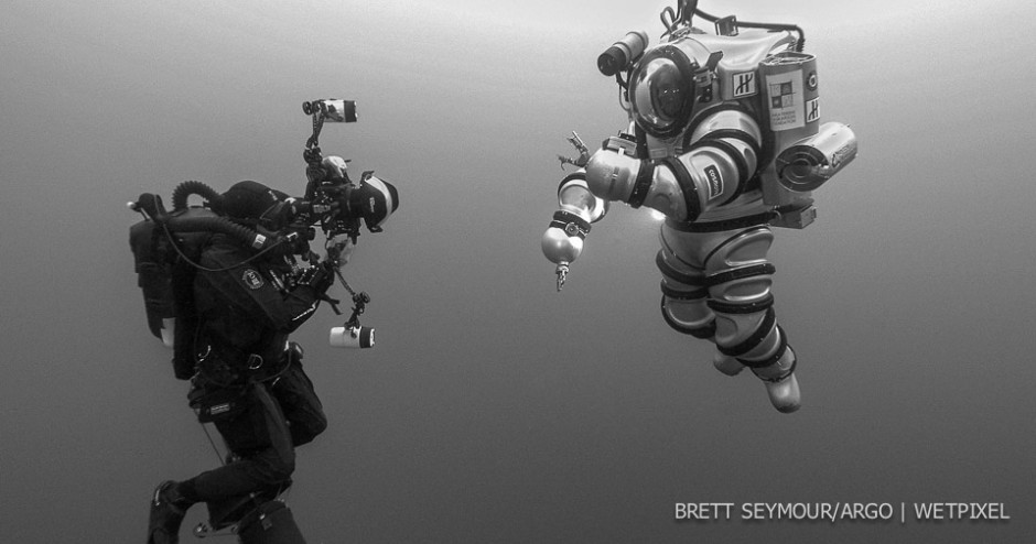 Photographer Brett Seymour shoots the Exosuit off the coast of Antikythera.