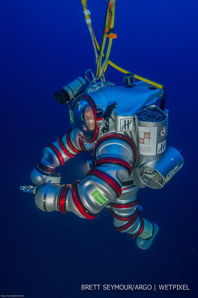 Woods Hole Oceanographic Institution Diving Safety Officer Ed O'Brian pilots the Exosuit at the Antikythera site.
