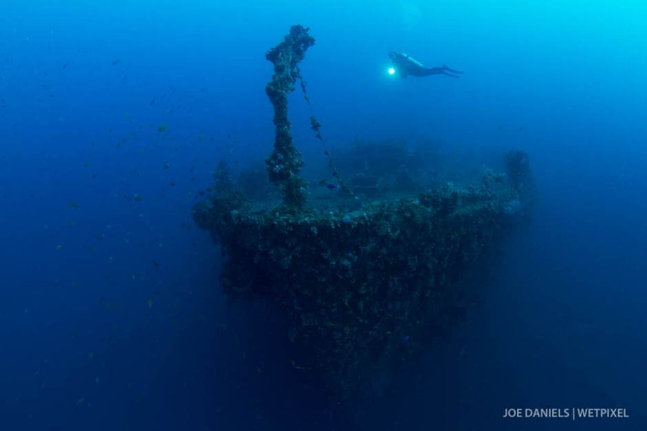 A diver checking out the bow of The Duke of Sparta wreck.