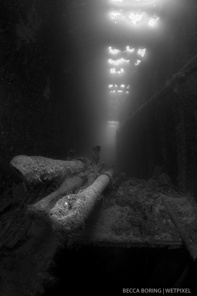 Periscopes on the Heian Maru, a Japanese submarine tender.  The Heian is the largest wreck in Truk Lagoon.  Her cargo hold is also final resting place to a collection of Japanese long lance torpedoes.