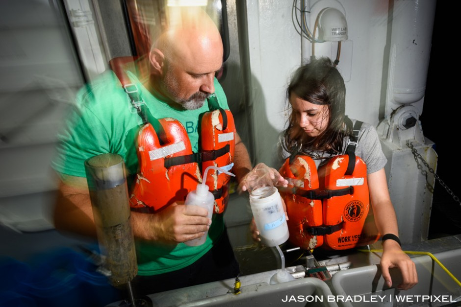 Dr. Craig McClain, lead scientist for Project Woodfall and Executive Director of LUMCON (Louisiana Universities Marine Consortium), and research assistant River Dixon, carefully comb through core sediment samples from the ocean floor.