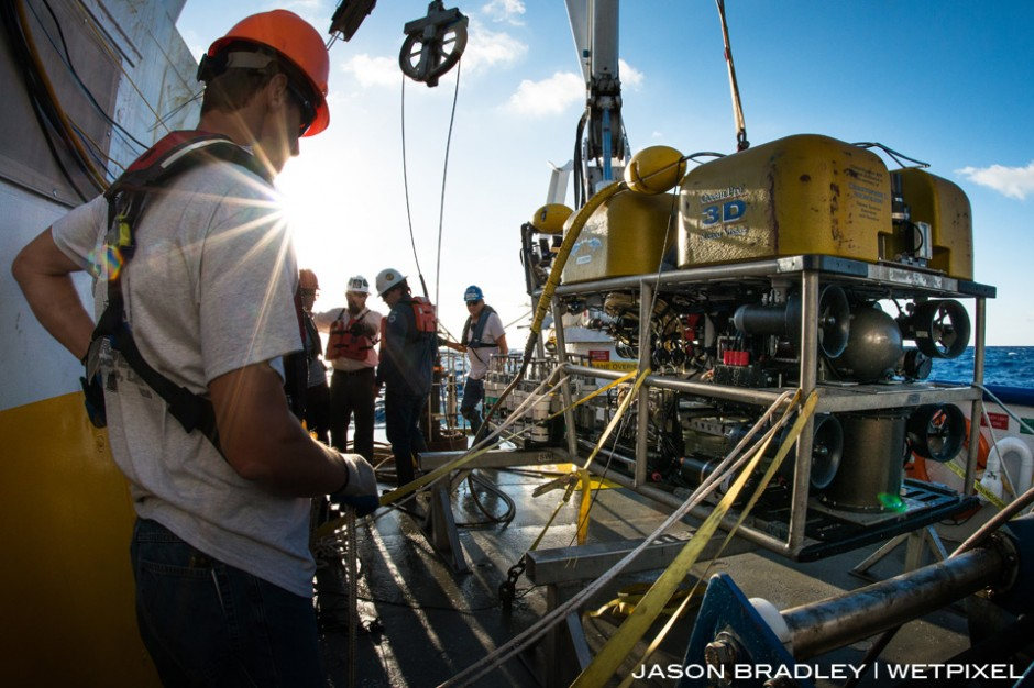 Oceaneering's ROV is about to released in the Mississippi Canyon, in the Gulf of Mexico.  The target depth for this dive was 2000 meters.