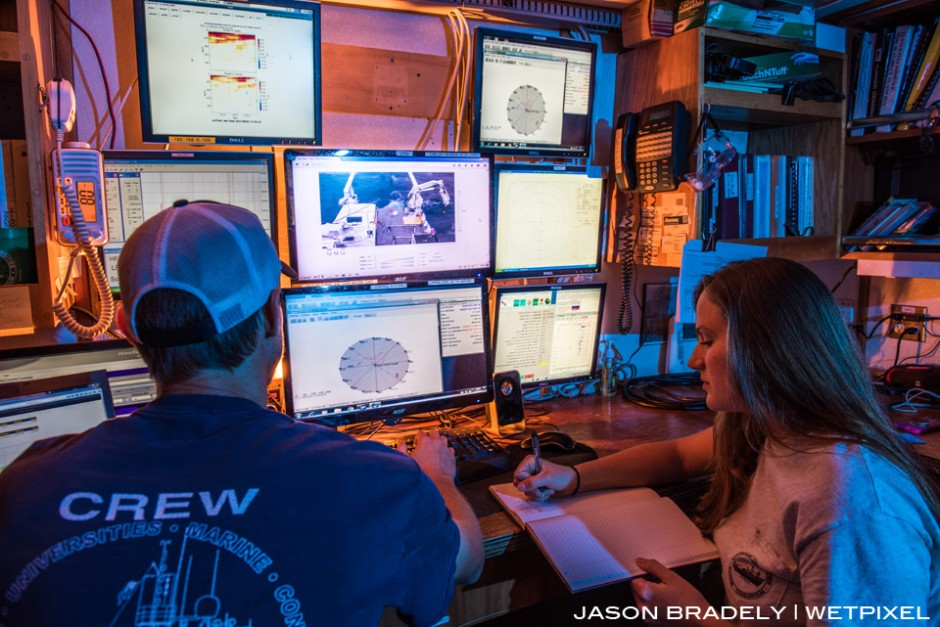 Engineers on LUMCON's (Louisiana Universities Marine Consortium)  Research Vessel Pelican doing engineering stuff.  It's technical.
