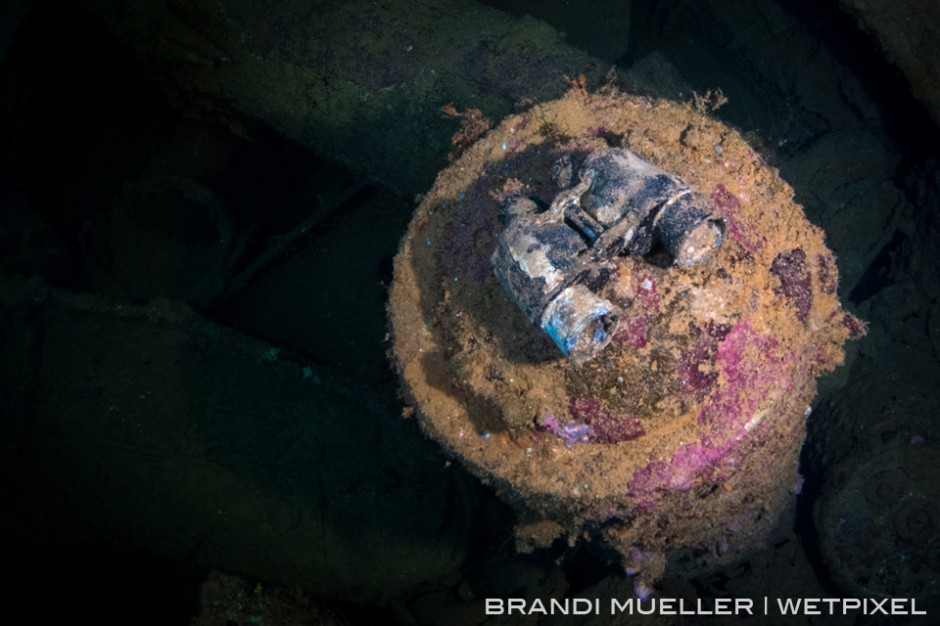Binoculars on a torpedo in a hold of the San Francisco Maru around 180ft.