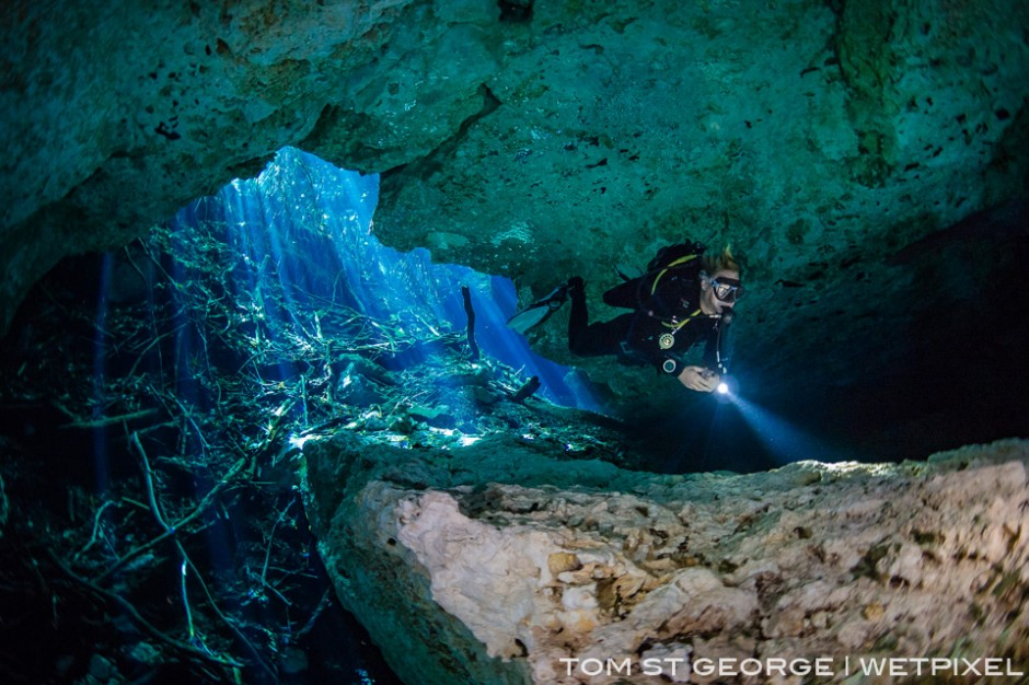 Cenotes are often connected to each other. Cenote Esmerald is on the cavern line at Cenote Tajma Ha.