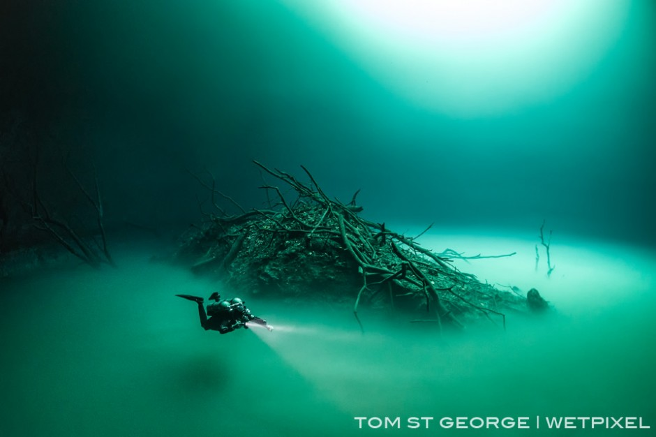 The debris mound at Cenote Angelita looks like an island surround by the 'river' of hydrogen sulfide gas.