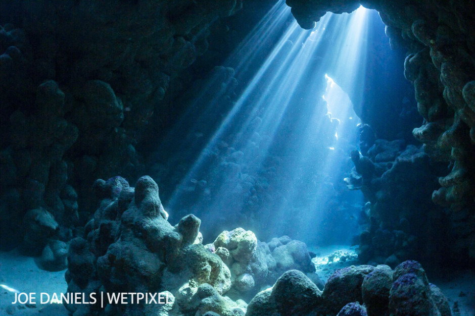 The reefs of the southern Red Sea often have stunning caverns running through them.