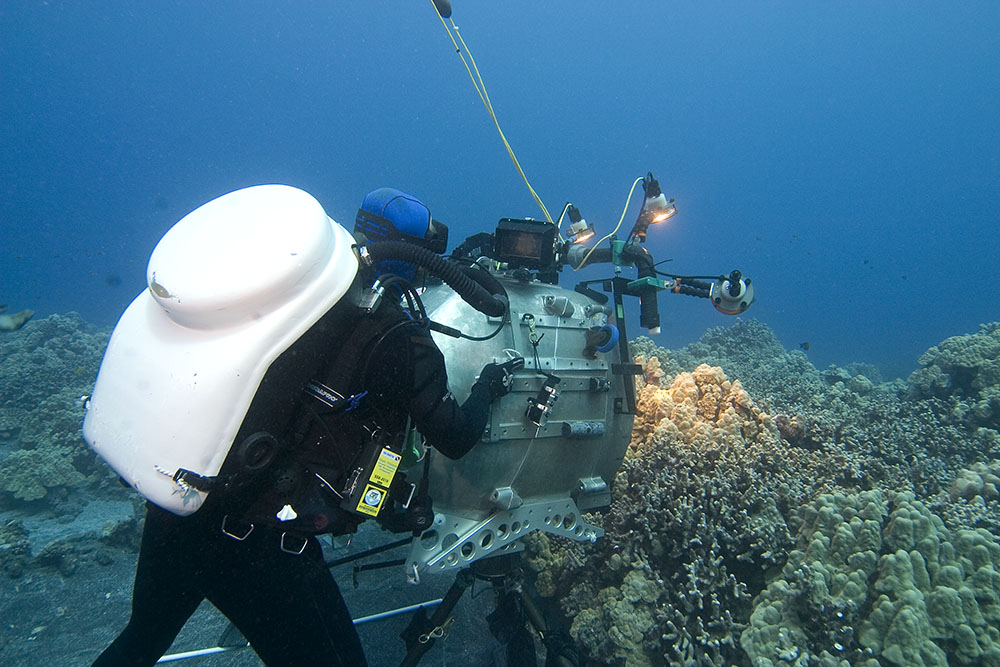 Howard Hall and crew with IMAX 3D camera during making of Deep Sea 3D in Hawaii