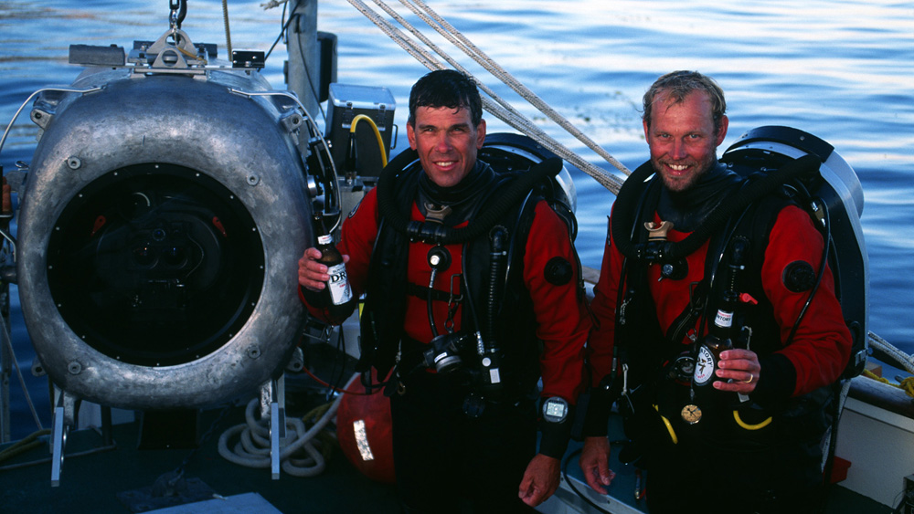 Bob Cranston and Howard Hall with an underwater IMAX camera