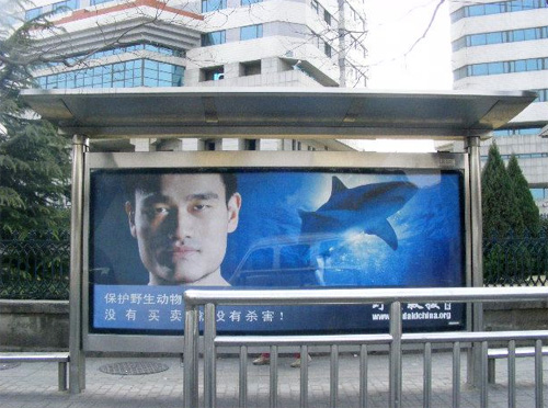 Last year's billboard in Beijing featuring Yao Ming
