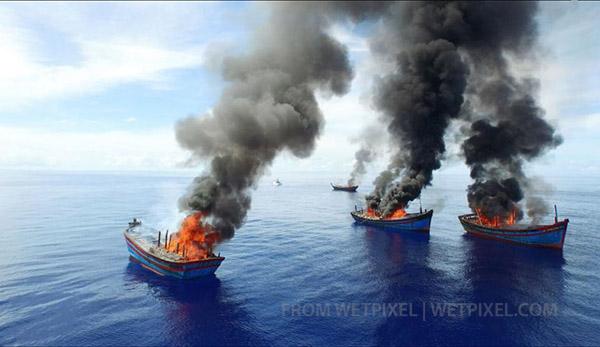 Четыре лодки вьетнамских браконьеров были сожжены представителями властей  Республики Палау