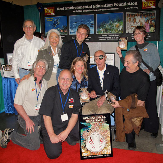 Sensational Seas Two DVD group photo (which I missed!): Ned and Anna Deloach, Kris Wilk, Mary Lynn<br />Price, Rick Morris, Mike Elliot, Annie Crawley, Stan Waterman, Leandro Blanco (photo by Steve Perez)